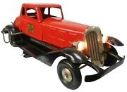 Rare Hoge Fire Chief Red Elctf'd Wind-up Pressed Steel Car W/working Head Lights