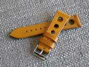 22mm Vintage Leather Watch Strap Racing Style Cognac Made In Italy