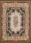 Ivory Victorian Style Floral Needlepoint Chinese Area Rug Hand-woven 8x10 Carpet