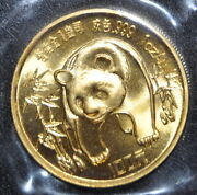1986 1 Ounce Gold 100 Yuan Panda Scarcer Coin Found In The Original Packaging