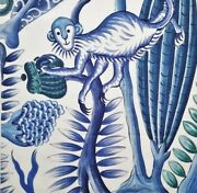 Clarence House Blooming Jungle Linen Print Multipurpose Fabric Blues 10yards