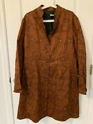 Nwot Peruvian Connection Multi Brown Rust Yellow Black Jacket Coat Size 16