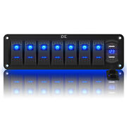 8 Gang Toggle Rocker Switch Panel With Usb For Car Boat Marine Rv Truck Blue Led