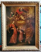 Holy Family Jesus God Spanish Renaissance Old Master 1600and039s Antique Oil Painting