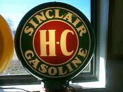 Gas Pump Globe Sinclair H-c And Light Stand New Reproduction Glass Lenes