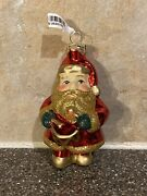 """Pier One Handblown Santa Playing Drum Ornament New With Tags 4"""" In Height"""