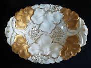 Meissen Early Rococo Gold Gilt Oval Bowl Painted Raised Gold Grape Leaves