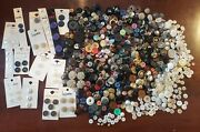 Lot 700 Antique Vintage Buttons Acrylic Metal Abalone Wood Leather Rhinestone+