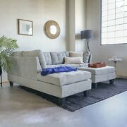 Microfiber Sectional Sofa And Ottoman Set Left Chaise Tufted Medium Firm Foam Grey
