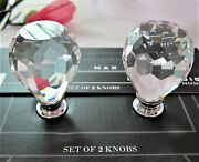 2x Solid Crystal Large Pull Knobs Diamond Cut Drawer Cabinet Furniture Hardware