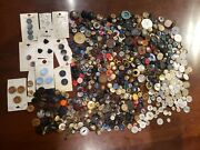Lot 600 Antique Vintage Buttons Acrylic Metal Abalone Rhinestone Wood Leather