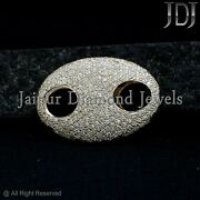 Solid 14k Yellow Gold Pave 1.18ct H/si1 Diamond Connector Fine Jewelry Finding