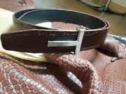 No Joints Genuine Crocodile Leather Skin Men's Belt S 38with + Buckle