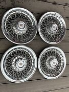 """Vintage Chevy Hubcaps Wheel Cover Wire Spoke Monte Carlo 14"""" Set 4 Oem"""