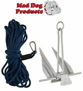 Navy Blue 100and039 X 3/8 Anchor Line And Slip Ring Anchor Pack - 5 Lb. Steel Anchor