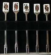 Set 12 Garrard And Co Sterling Appetizer Cocktail Canape Fork Playing Card England