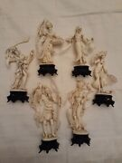 Six Vintage Molded Plastic Asian Men, Women Figurines. Made In Italy