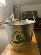 Rolling Rock Beer Pail With Handle Ice Bucket Of Rocks 7.25x9.5