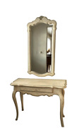 Ethan Allen Country French Console Table And Mirror With Hand Decorated Finish