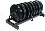 Ader Black 230lbs Olympia Bumper Plate 4 Pairs Set W/ Rack