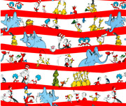 New 100 Cotton - 1/2y By 44 - Celebrate Seuss Character Stripe Fabric