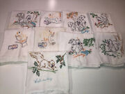 9 Vintage Cotton Dish Tea Towels Hand Embroidered Animals Colorful