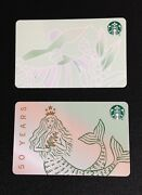 🇨🇦canada 2021 Starbucks 50 Years And Coffee Plantation Gift Card 2 Pcs. - New