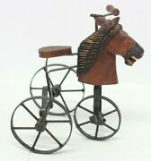 Antique Reproduction Mini Wood And Metal Horse Tricycle For Doll Victorian