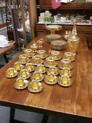 Ww Ii Vintage Victoria Czechoslovakian China Service For 8- Gold And Platinum