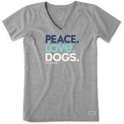 Life Is Good Womenand039s Crusher Vee Peace Love Dogs Heather Gray