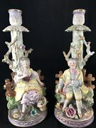 Pair Antique Hand Painted Porcelain Candlesticks Rococo Style Figural Couple 2