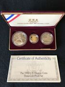 1992 U.s. Mint Olympic Coins - Three Coin Proof Set - Gold And Silver