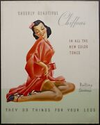 C.1940s Rollins Runstop Stockings Sign They Do Things For Your Legs Gga Vintage