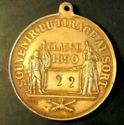 Rare 1890 Class Bronze Military Lottery Large Medal Pictoiral Circa 1905