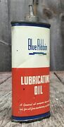 Early Vintage 4 Oz Blue Ribbon Lubricant Oil Oiler Tin Can Gas And Oil Lead Topper