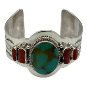 Native American Navajo Jewelry Sterling Silver Turquoise Coral Bracelet Handmade