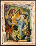 Original Vintage Gerritt Hondius Oil Painting, Late 1940s, Titled Punch And Judy