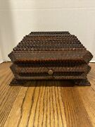 19th Century Antique Hand Carved Tramp Art Box W/ Hinged Lid And Drawer