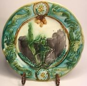 Antique French Majolica Barbotine Display Plate Joan Of Arc By Orchies C.1890s