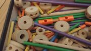 Vintage 1955 Huge Box Of Wooden Tinker Toys 200 Pieces Fun Antiques Collectible
