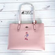 New 2021 Disney Parks X Coach Daisy Duck Motif Flax Central Pink Tote Purse Bag
