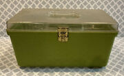 Vintage Wilson Wil-hold Green Plastic Sewing Box W/ 1 Tray Usa