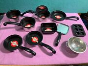 Vintage Lot 11pc Child's Toy Pretend Play Farberware Kitchen Pots And Pans Muffin