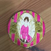 Vintage Makeup Powder Compact W/ Lady In Dress Pink And Gold Puff And Screen Incl