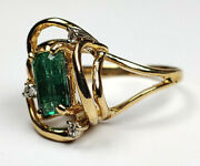 14k Solid Yellow Gold Emerald Shape Emerald With Round Cut Diamonds 2.72 Ctw...
