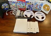 Nintendo Wii Console Bundle With 4 Oem Controllers And 6 Games Mario And Sonic
