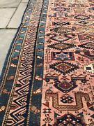 Pre 1900 Pink Kuba Rug, Caucasian, Distressed Antique Hand Knotted Wool Rug 4x7