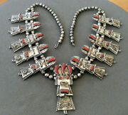 Frank Yazzie Native American Coral Sterling Silver Kachina Squash Bead Necklace