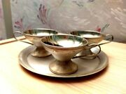 Vintage Soviet Russian Silver Plated Set Of 3 Coffee Cups And Tray