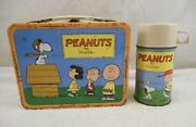 Vintage Peanuts 1959 Metal Lunchbox Charlie Brown Snoopy And Thermos Complete